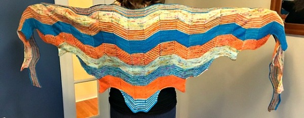 The Building Blocks knit shawl pattern by Stephen West. Photo copyright Carmen Wiley